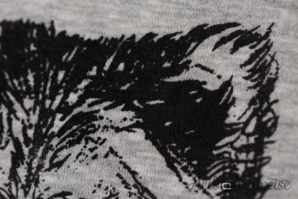 Detailbild von dem aufgedruckten Bärenkopf auf der Malotty