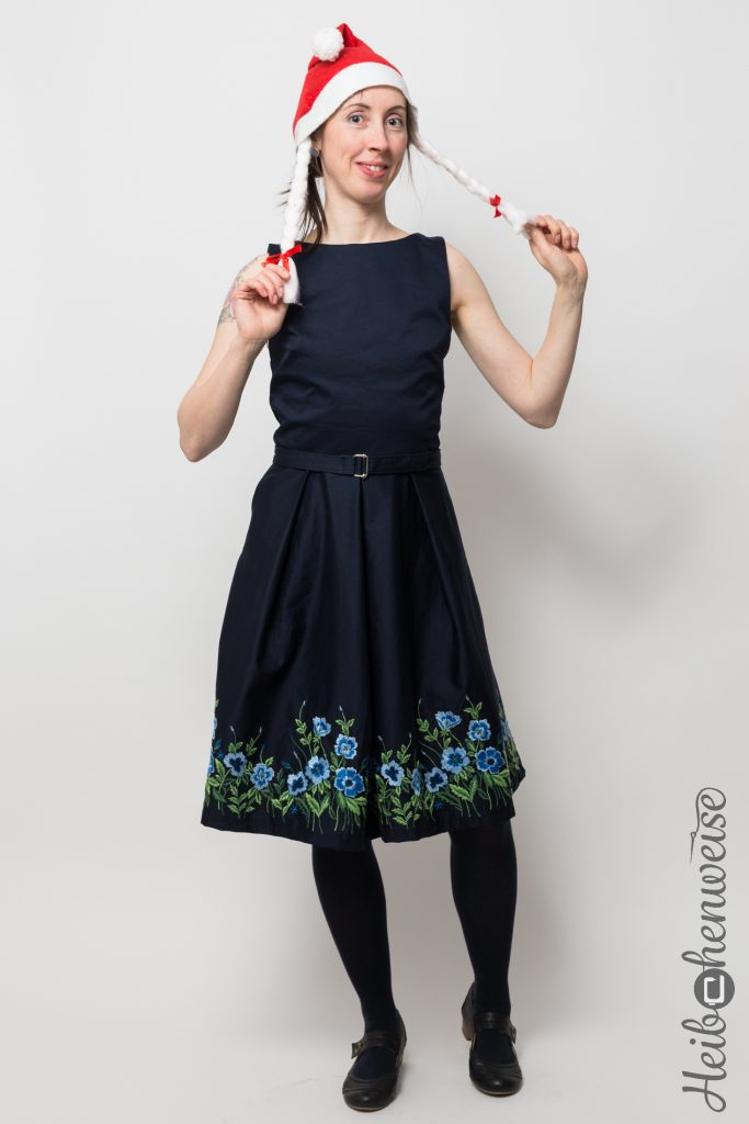 Burda Kleid 7080 genäht Weihnachtskleid 2016